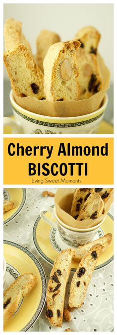 Cherry Almond Biscotti - Biscotti - Cherry Almond Biscotti These delectable Italian Cherry Almond Biscotti recipe (Cantucci) are the perfect cookies to dip in wine, coffee and hot cocoa for breakfast, snack or dessert. More on livingsweetmoment. Biscotti Cookies, Cake Cookies, Italian Cookies, Italian Desserts, Italian Recipes, Italian Foods, Cherry Almond Biscotti Recipe, Frango Cordon Bleu, Dessert