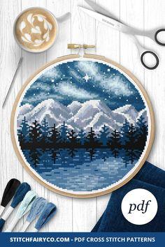 Ship Night Counted Cross Stitch Pattern Digital Pattern Full Moon Wave PDF Modern Decor Seascape Pattern Hand Embroidery Chart Needlepoint