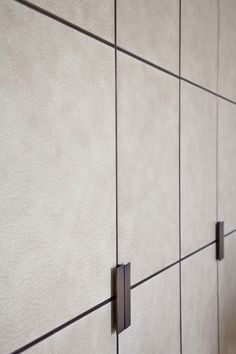 design - slab fronted panelled doors with textured surface & iron fittings and taupe colour - Wardrobe Cabinets, Wardrobe Doors, Wardrobe Closet, Wardrobe Door Designs, Closet Designs, Dressing Room Closet, Dressing Rooms, Wardrobe Handles, Joinery Details