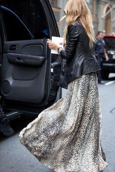 Leopard maxi & leather jacket