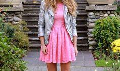 Cute pink dress with a silver jacket