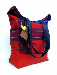 red checked tote  48 x 52 cm  available •