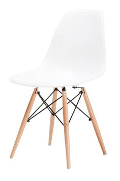 Replica Charles Eames Dining Chair (Wood Legs) -- Ray and Charles Eames designed in 1950 the first industrially manufactured plastic chair.  Our Replica Charles Eames Dining Chair is made to the specifications of this original design and features the classic waterfall seat edge that ensures comfort for extended periods of sitting, reducing pressure on thighs.