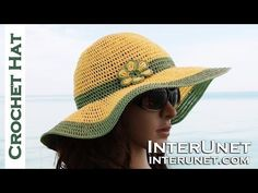 How to crochet summer sun protective hat. for more details and written step-by-step instructions. Crochet women's beach hat - double crochet stitch. The sun hat was made using a top-down crochet technique. Sombrero A Crochet, Crochet Beanie, Crochet Shawl, Knitted Hats, Knit Crochet, Free Crochet, Learn Crochet, Crochet Flower, Crochet Crafts