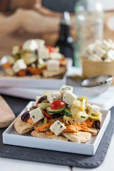 Mediterranean Nachos with Roasted Red Bell Pepper Hummus & Tofu Feta