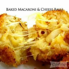 "Put left over Mac and cheese in freezer to get very cold. Make into 1"" balls roll in seasoned flour, dip in egg, roll in bread crumbs. Put on oiled foil sheet. Make 400 degrees 10 min, flip over bake 10 min more."
