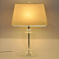 60W E27 Table Lamp with White Ladder Style Shade and Crystal Lamp Carrier (BBB) , 220-240V