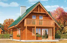 Projekt domu D03 Grześ drewniany 84,66 m2 - koszt budowy 76 tys. zł - EXTRADOM Village House Design, Village Houses, Pergola Patio, Backyard Patio, Small Farmhouse Plans, Small House Floor Plans, 2 Bedroom House, Apartment Layout, Wooden House