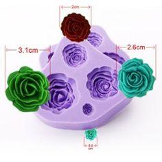 2x Moule Silicone Roses 4 Tailles Diy Pâte À Sucre Amande Fimo Plâtre Résine
