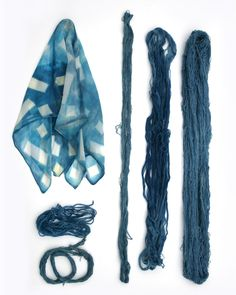 rdtextiles:  Indigo dye on new silk scarves and materials for a new natural dye series of tapestries.