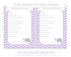 Pastel Purple Chevron  Baby Elephant Wishes for Baby Sheets