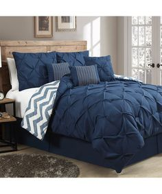 Geneva Home Fashions Navy Ella Pinch Reversible Comforter Set | zulily