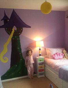 Rapunzel tangled bedroom mural hand painted girls Disney theme princess tower