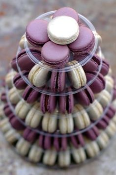 purple and silver macaron tower