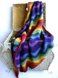 Crochet Pattern - for Rainbow Ripple Baby Blanket - Easy Advanced Beginner Pattern for Kids of All Ages Crochet Patterns For Beginners, Crochet Blanket Patterns, Baby Blanket Crochet, Crochet Blankets, Crochet Afghans, Beginner Crochet, Baby Afghans, Afghan Patterns, Knitting Patterns