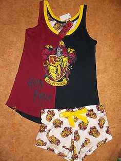 HARRY POTTER Ladies Pyjamas HOGWARTS HOUSE CRESTS Vest T Shirt Shorts  Primark