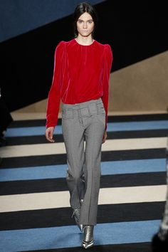 Derek Lam Fall 2016 Ready-to-Wear Fashion Show.  gorgeous color top.  looks like velvet...luscious!