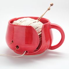 Yarn Bowl in Poppy Red (MADE TO ORDER)