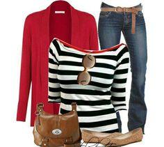 Blusa rayas negras, sueter rojo, jeans y faja cafe!!!