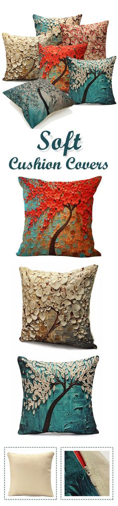 Colorful Tree Flower Cushion Cover Cotton Linen Pillow Case Sofa Home Decor Throw Cushions, Diy Pillows, Pillow Ideas, Cushion Covers, Cushion Pillow, Creative Textiles, Pillow Arrangement, Colorful Trees, Autumn Home