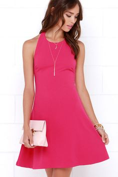 Count On Me Fuchsia Halter Dress at Lulus.com!