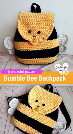 Crochet Bumble Bee Backpack - free crochet pattern #crochetbackpack #freepattern #kids #bumblebee
