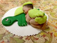 Baby with Turtle/Fondant Cake Toppers/Baptism Birthday Christening Baby Shower Cake Topper/Fondant and Gumpaste Toppers.Gumpaste decorations