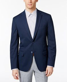 Calvin Klein Men's Slim-Fit Navy Birdseye Sport Coat - Blazers & Sport Coats - Men - Macy's