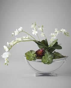 Steely Orchids Faux Floral Arrangement by John-Richard Collection at Neiman Marcus.