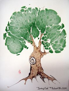 Spring Oak Original Fine Hand Marbled Graphics by StudioRobertWu, $48.00