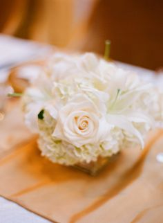 White Rose Wedding Centerpiece | photography by http://www.buffydekmar.com/