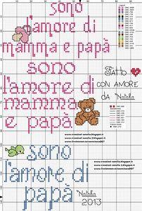 punto croce amore di mamma e papà