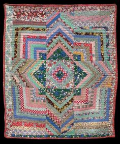 A wonderful Log Cabin Variation quilt, circa 1940. Unknown Quilt Maker, collected in Indiana, 66 x 80 inches. Offered by The Quilt Complex