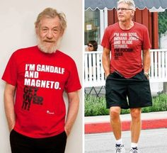 I'm Gandalf and Magneto. Get Over It / I'm Han Solo, Indiana Jones, and Blade Runner. Get Over It - Ian McKellen and Harrison Ford Ian Mckellen, Harrison Ford, Gandalf, Indiana Jones, Cultura Nerd, Films Cinema, Morgan Freeman, Raining Men, Blade Runner