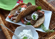 Lamb Gyro {with Tzatziki Sauce} Sauce has mayo. We DO NOT use mayo in tzatziki. Sour Cream (full fat) may be added for richness but not really needed. Lamb Recipes, Wrap Recipes, Greek Recipes, Lamb Gyros, A Food, Good Food, Veggie Platters, Burgers And More, Ground Meat Recipes