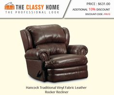 Hancock Traditional Vinyl Fabric Leather Rocker Recliner