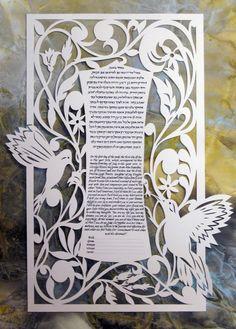 K147 - Hummingbird Laser Ketubah | Judaic Art Studio This artist never ceases to amaze with their designs!  LASER CUT