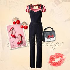 Loving your favourite jeans but looking for something different? Then this is the look you want! Rockabilly Looks, Rockabilly Outfits, Rockabilly Fashion, Retro Outfits, Vintage Outfits, Vintage Fashion, Rockabilly Girls, Rockabilly Clothing, 50s Style Clothing
