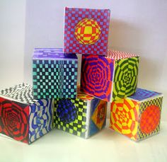 Lessons from the K-12 Art Room Love these Op Art Cubes and the eraser portraits on this blog!