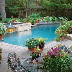 good landscaping around the pool