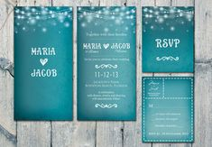 Digital - Printable Files  - Romantic Blue Night and Soft Lights Wedding Invitation and Reply Card Set - Wedding Stationery - ID208 on Etsy, $35.00