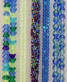 Assorted Bulk Lot Czech Glass Seed Tulip Flower Blue Yellow Green 2000 + Beads