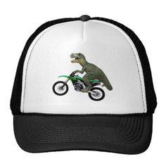 Tyrannosaurus T. Rex Dinosaur Riding Motorcycle Trucker Hat