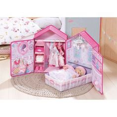 Baby Annabell® now has a very fancy home. From the outside it is designed like a real house, with Baby Annabell®'s little la. Kids Toy Shop, Baby Annabell, Zapf Creation, Baby Bathroom, Doll Closet, Baby Doll Accessories, Small Room Bedroom, Bedroom Ideas, Baby Alive
