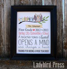 Teacher Appreciation Gift - Printable personalized Keepsake for your favorite teacher!