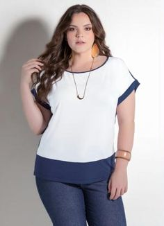 Blusa Bicolor (Branco e Azul) Plus Size Roupas Para Gordinhas 500b4b794eddb