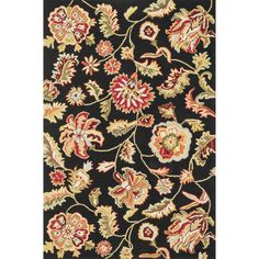 Add simplicity, elegance and a pop of color to your decor with this exquisite floral area rug. The 100 percent polyester rug features a solid black background with a multi-color floral pattern that will complement any room in your home.