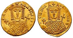 Solidus-Irene-sb1599 - Atinalı İrini - Vikipedi-İrini adına bastırılan Bizans Solidus sikkesinde adı BASILISSH, Basılısse oılarak verilmekte.