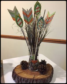 Adorable tribal centerpiece for baby shower! #lovetocreatebylizzietyler