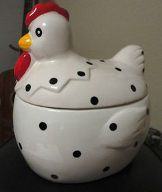 SPOTTED LARGE CHICKEN COOKIE JAR